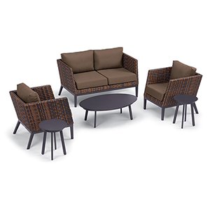 Salino Sable 6-Piece Woven Chat Set with Eiland Tables and Toast Cushions