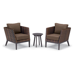 Salino Sable 3-Piece Woven Club Chairs and Eiland Table Chat Set with Toast Cushions