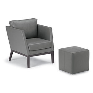 Salino Nickel 2-Piece Nauticau Club Chair and Ottoman Pouf Lounge Set
