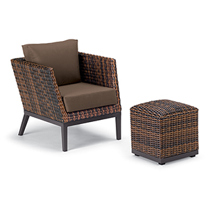 Salino Sable 2-Piece Woven Club Chair and Ottoman Pouf Lounge Set with Toast Cushions
