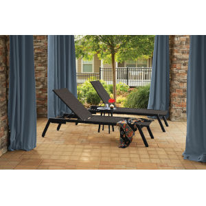 Eiland Carbon Chaise Lounge and End Table Set, 3-Piece