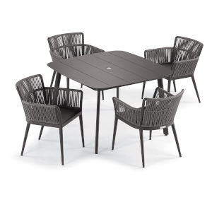 Nette Carbon and Pewter Patio Dining Set, 5-Piece