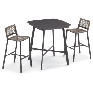 Eiland Carbon and Mocha Outdoor Bar Table Set, 3-Piece