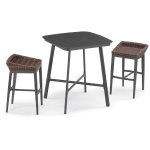 Salino Carbon and Sable Outdoor Bar Table Set, 3-Piece
