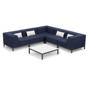 Koral Carbon and Spectrum Indigo Patio Sectional Set and Table with Cushion, 6-Piece