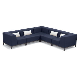 Koral Carbon and Spectrum Indigo Patio Sectional Set with Cushion, 5-Piece