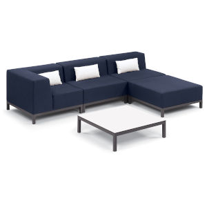 Koral Carbon and Spectrum Indigo Patio Sectional Set and Table with Cushion, 5-Piece