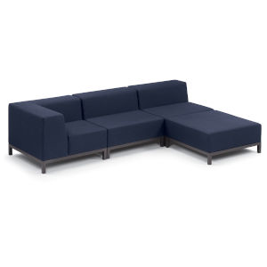 Koral Carbon and Spectrum Indigo Patio Sectional Set, 4-Piece