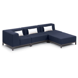 Koral Carbon and Spectrum Indigo Patio Sectional Set with Cushion, 4-Piece