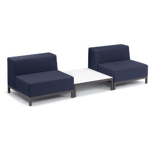 Koral Carbon and Spectrum Indigo Patio Modular Sofa and Table Set, 3-Piece