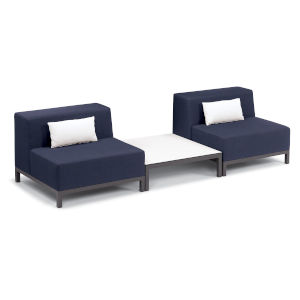 Koral Carbon and Spectrum Indigo Patio Modular Sofa and Table Set with Pillow, 3-Piece