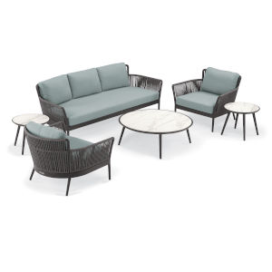 Nette Multicolor 85-Inch Patio Sofa and Table Set, 6-Piece