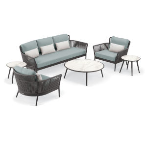 Nette Multicolor 85-Inch Patio Sofa and Table Set with Cushion, 6-Piece