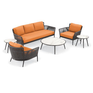 Nette Multicolor Patio Sofa and Table Set, 6-Piece