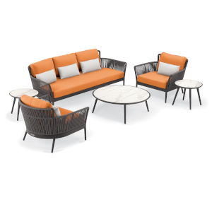Nette Multicolor Patio Sofa and Table Set with Cushion, 6-Piece