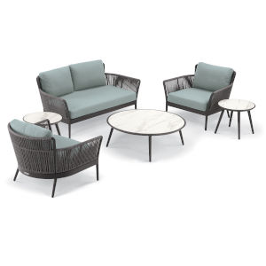 Nette Carbon and Seafoam Loveseat and Table Set, 6-Piece
