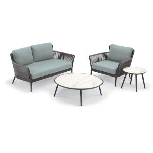 Nette Carbon and Seafoam Outdoor Loveseat and Table Set, 4-Piece