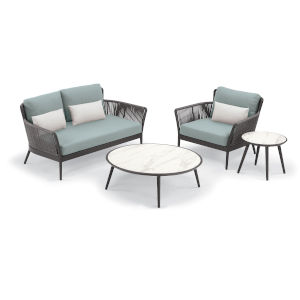 Nette Multicolor Outdoor Loveseat and Table Set with Cushion, 4-Piece