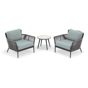 Nette Carbon and Seafoam Outdoor Club Chair and Table Set, 3-Piece