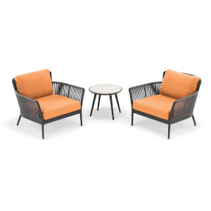 Nette Carbon and Tangerine Outdoor Club Chair and Table Set, 3-Piece
