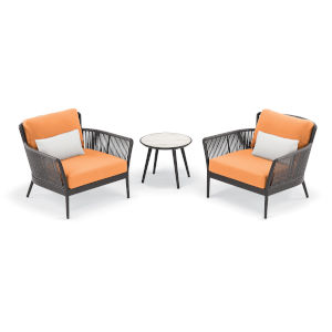 Nette Multicolor Outdoor Club Chair and Table Set, 3-Piece