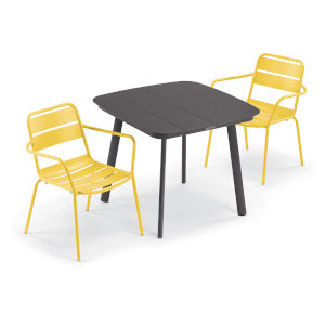 Kapri and Eiland Saffron 36-Inch Square Dining Table with Two Armchairs