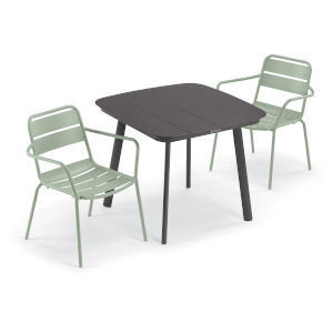 Kapri and Eiland Sage 36-Inch Square Dining Table with Two Armchairs