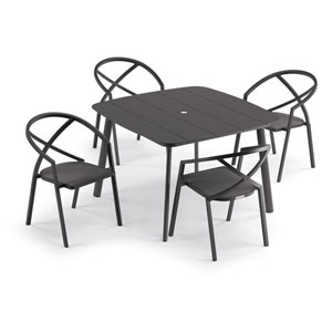 Azal Carbon Dining Table Set, Five-Piece