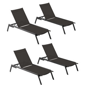 Eiland Carbon Outdoor Armless Chaise Lounge, Set of 4
