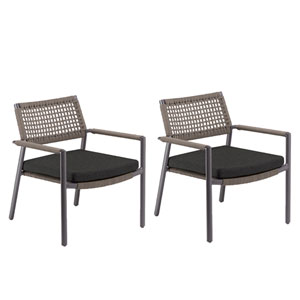Eiland Composite Cord Mocha and Carbon Club Chair with Pepper Cushions - Set of 2