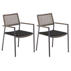 Eiland Composite Cord Mocha and Carbon Armchair with Pepper Cushions - Set of 2