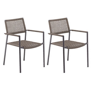 Eiland Composite Cord Mocha and Carbon Armchair- Set of 2