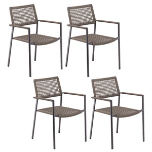 Eiland Composite Cord Mocha and Carbon Armchair- Set of 4
