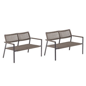 Eiland Composite Cord Mocha and Carbon Loveseat- Set of 2