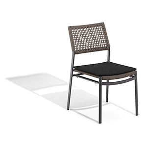 Eiland Composite Cord Mocha and Carbon Side Chair with Pepper Cushions- Set of 2