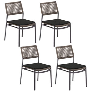 Eiland Composite Cord Mocha and Carbon Side Chair with Pepper Cushions - Set of 4