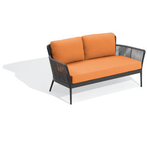 Nette Carbon and Tangerine Outdoor Loveseat