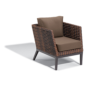 Salino Resin Wicker Sable Woven Club Chair with Toast Cushions