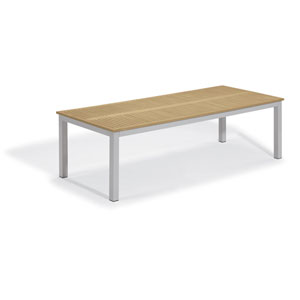Travira Silver 103-Inch Rectangular Dining Table With Tekwood Natural Top