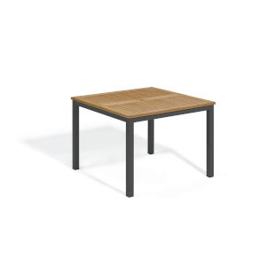 Travira Natural Tekwood Top and Carbon Powder Coated Aluminum Frame 39-Inch Square Dining Table