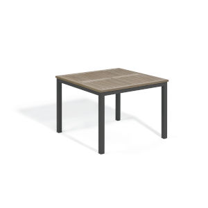 Travira Vintage Tekwood Top and Carbon Powder Coated Aluminum Frame 39-Inch Square Dining Table
