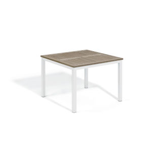 Travira Vintage Tekwood Top and Chalk Powder Coated Aluminum Frame 39-Inch Square Dining Table