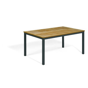 Travira Natural Tekwood Top and Carbon Powder Coated Aluminum Frame 63-Inch Rectangular Dining Table