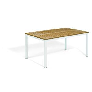 Travira Natural Tekwood Top and Chalk Powder Coated Aluminum Frame 63-Inch Rectangular Dining Table