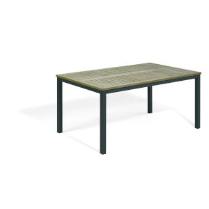 Travira Vintage Tekwood Top and Carbon Powder Coated Aluminum Frame 63-Inch Rectangular Dining Table