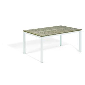 Travira Vintage Tekwood Top and Chalk Powder Coated Aluminum Frame 63-Inch Rectangular Dining Table