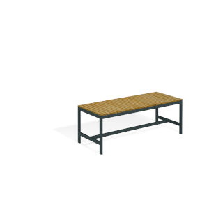 Travira Natural Tekwood Seat and Carbon Powder Coated Aluminum Frame Backless Bench