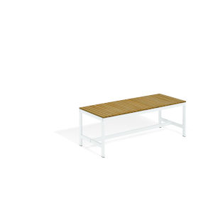Travira Natural Tekwood Seat and Chalk Powder Coated Aluminum Frame Backless Bench