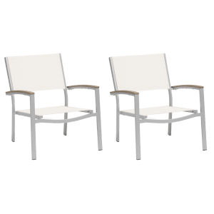 Travira Natural Sling Side Chair with Vintage Tekwood Armcaps, Set of 2