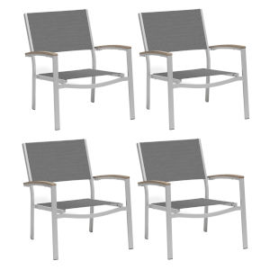 Travira Titanium Sling Seats Chat Chair Set of 4